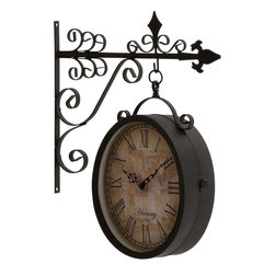 """Benzara - Artistic and Antique Themed Double Side Clock - Tired of those regular wall clocks adorning your walls? Then this artistic watch is surely going to delight you with its fancy carvings and antique appeal. Painted in black hue and crafted from metal, this wall watch features a side bar for placing it on the walls with a round shaped faded white dial hanging from the other metal bar. The dial features antique minute and hour needles with Roman numbers and is surrounded by excellent carvings that gives out a warm antique aura. You can place it any room of your house and it is sure to make the ambience very classy. Your guests and visitors will be in awe at the sight of this wall clock.This wall clock is easy to clean and very durable. It will also be an excellent choice to be presented to any antique collectors and enthusiasts. So wait no more and grab the opportunity now. This Double Side Clock measures 14 inch (W) x 4 inch (D) x 17 inch (H) and 8 inch (W) x 4 inch (D) x 10 inch (H)"""" clock; Made from metal; Artistic metal carvings; Dimensions: 15""""L x 5""""W x 18""""H"""