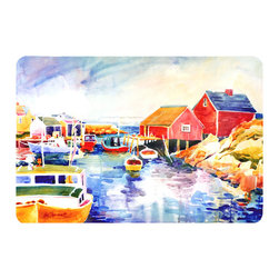 Caroline's Treasures - Boats At Harbour With A View Kitchen Or Bath Mat 24X36 - Kitchen or Bath COMFORT FLOOR MAT This mat is 24 inch by 36 inch.  Comfort Mat / Carpet / Rug that is Made and Printed in the USA. A foam cushion is attached to the bottom of the mat for comfort when standing. The mat has been permenantly dyed for moderate traffic. Durable and fade resistant. The back of the mat is rubber backed to keep the mat from slipping on a smooth floor. Use pressure and water from garden hose or power washer to clean the mat.  Vacuuming only with the hard wood floor setting, as to not pull up the knap of the felt.   Avoid soap or cleaner that produces suds when cleaning.  It will be difficult to get the suds out of the mat.