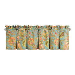 """C F Enterprises - Jasleen Unlined Valance - The Jasleen Unlined Valance is part of a bedding collection by C F Enterprises in tropical blue with muticolored Jacobean florals. Each valance measures 72"""" x 15.5"""" and is 100% cotton. Generally allow 1 valance per window."""