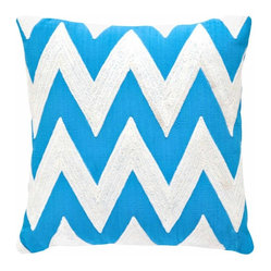 Dash & Albert Fresh American Chevron Turquoise Indoor/Outdoor Pillow