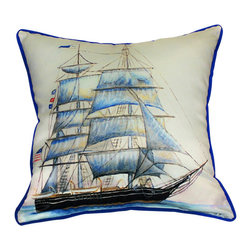 Betsy Drake - Betsy Drake Whaling Ship Pillow- Indoor/Outdoor - Whaling Ship Pillow- Large indoor/outdoor pillow. These versatile pillows are equal at enhancing your homes seaside decor and adding coastal charm to an outdoor setting arrangment. They feature printed outdoor, fade resistant fabric for years of wear and enjoyment. Solid back, polyfill. Proudly made in the USA.