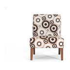 Baxton Studio - Davis Tan Fabric Accent Chair - Simply mahvelous! Cream, tan and brown circles and long legs give this accent chair its mod vibe, while the padded foam cushioning and stable wooden frame add up to comfortable seating. Invite some panache into your contemporary living room, dining room or bedroom with this eye-catching accent chair.