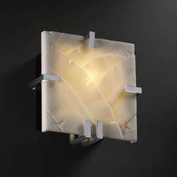 Justice Design Group - Porcelina Clips Square Fluorescent Polished Chrome ADA 1000 Lumen LED Wall Sconc - - Dimmable LED is now a lamping option for thousands of wall sconces, semi-flush bowls and flush-mount products offered by Justice Design. The light quality is warm (3000K) and truly stunning. They are dimmable down to 5 percent and work on a variety of dimmers, including standard electronic dimmers. Not only are these fixtures energy efficient, consuming the equivalent of a 75W incandescent bulb (1,000 initial lumens) per LED, but they are rated for 50,000 hours ? which means no more climbing ladders to change light bulbs! The LED engine comes standard with a 5 year warranty.  - Color Rendering Index: 85  - Beam Spread: 120�  - Total Wattage: 13  - Electrical: Input Frequency: 50-60 Hz. Power Consumption per Light Engine: 13W Dimming: Compatible with Incandescent / Triac or ELV Dimmers. Driver Efficiency: greater than 80 percent  - Illumination and Efficacy: Light Output Per Engine: 1000 Lumens (Initial). Light Engine Efficacy: 77 Lumens Per Watt (Initial). ANSI Binning: + / - 175k MacAdam Ellipse: 7-Step CFL Equivalent: 18W per EngineDimmability: Down to 5 percent Beam Angle: 120� Ambient Temperature Operating Range: -20�C to +40�C ( -4�F to +10�F). EPA Compliant  - 1,000 initial total lumens, the equivalent of one 75 watt incandescent bulb Justice Design Group - PNA-5550-BANL-CROM-LED-1000