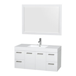 """Wyndham Collection - Amare 48"""" Vanity in Acrylic Resin Top, Integrated Sink, 46"""" - Modern clean lines and a truly elegant design aesthetic meet affordability in the Wyndham Collection Amare Vanity. Available with green glass, acrylic resin or pure white man-made stone counters, and featuring soft close door hinges and drawer glides, you'll never hear a noisy door again! Meticulously finished with brushed chrome hardware, the attention to detail on this elegant contemporary vanity is unrivalled."""