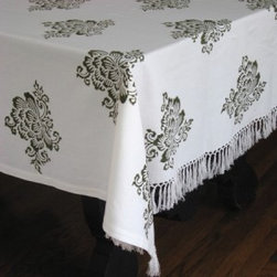 """Les Indiennes Handloomed Throw/Cover - I ordered fabric samples from Les Indiennes after spying one of their fabulous elephant print fabrics several years ago. Every sample I received was elegant and exquisite. This beautiful tablecloth is one you may want to have a """"clear liquids only"""" policy for when pulling it out for a dinner party!"""