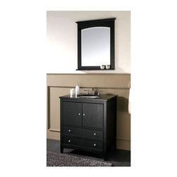 Avanity Corporation - 30 in. Vanity w Undermount Sink/Black Granite - This two piece set comes with a wood vanity with storage drawers and central cabinet along with a matching mirror. Both items have a black finish to accent your d̩cor, and the vanity comes with a beautiful black granite top. Set includes Vanity w Black Granite Top, Undermount Sink, and Mirror. Dark Ebony finish over birch solid wood and veneers. Black granite top and backsplash. Bevel mirror. Wood cleat at back for easy hanging. White Vitreous China undermount sink. Soft-close door hinges. 2 bottom drawers with soft-close glides. Adjustable height levelers. Pictured in Dark Ebony. Faucet not included. Vanity: 31 in. W x 22 in. D x 34.8 in. H. Mirror: 30 in. W x 2.2 in. D x 32 in. H