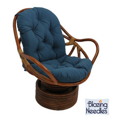 Blazing Needles - Blazing Needles Twill Swivel Rocker Cushion - Add a touch of comfort and style to your indoor home furnishings with this swivel rocker cushion with ties. This solid twill cushion features eight beautiful variations that ensure the utmost in quality and durability.