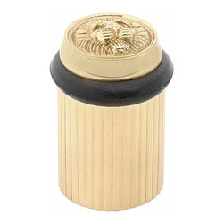 Renovators Supply - Door Stops Polished Brass Lion's Den Door Bumper Floor Mount | 17469 - Door Bumpers: Our Lion's Den door bumper is elegantly designed with period details. Solid brass construction with a beautiful POLISHED finish. CONCEALED center screw simply unscrew the top to insert the screw! No more unsightly screws. Easy floor mount installation includes anchoring center screw. Extra sturdy black bumper prevents damage to your door. Measures 2 in. H.