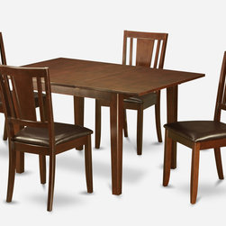 """East West Furniture - Milan 5Pc Set with Dining Table and 4 Dudley Faux Leather Seat Chairs - Milan 5Pc Set with Rectangular Table Featured 12 In Butterfly Leaf and 4 Dudley Faux Leather Seat Chairs; Rectangular dining table is designed in contemporary style with clean angles and sleek lines.; Table and chairs are crafted of fine Asian solid wood for quality and longevity.; Chairs are available with either wooden seats or upholstered seats to suit preference and desired motif.; Table features a standard butterfly leaf for convenient extension.; Ladder back chair style is sturdy, durable, and is ideal for classic decor in any kitchen or dining room.; Dinette sets are available in either rich Mahogany or exquisite Saddle Brown finish.; Weight: 149 lbs; Dimensions: Table: 42 - 54""""L x 36""""W x 29.5""""H; Chair: 18""""L x 18""""W x 38""""H"""