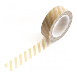 Gold and White Diagonal Striped Japenese Washi Tape by Waiting on Martha Craft - Washi tape gives all envelopes and packages a unique look. This tape is also great for pasting inspirations (business cards, magazine tear sheets, etc.) to your wall. Use it in place of regular tape whenever the opportunity rises.
