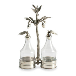 Olive Oil and Vinegar Server - Elegant leaf-topped cruets in clear glass become a romantic pair when set into the Olive Oil and Vinegar Server, a stunning set of glass bottles in an organically-modeled pewter stand that features a wonderful sculpted olive tree, its slightly wavy trunk supporting smooth, tempting fruits that symbolize wealth and abundance � and demonstrate the possibilities of pewter.