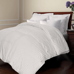 None - All Season Damask Stripe White Down Comforter - Sleep comfortably and soundly by adding this white damask-striped comforter to your bedroom. Featuring 290-thread-count microfiber,this down comforter offers inviting softness. This stylish comforter also is lightweight enough to be used year round.