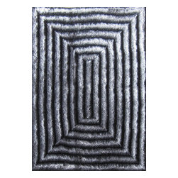 Rug - ~5 ft. x 7 ft. 3-D Grey Push Living Room Shaggy Hand-tufted Area Rug - 3D SHAG COLLECTION