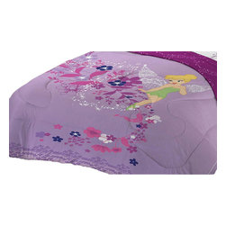 Franco Manufacturing Company INC - Disney Tinkerbell Powder Purple Twin-Full Bed Comforter - Features: