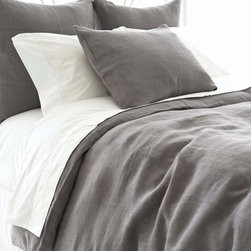 Pine Cone Hill - stonewash linen duvet cover (shale) - Chambray, gray and ochre tones combine with soft textures and subtle stripes to hallmark seabold retreat collection.  Choose from classic decorative pillows, cotton bed sheets, duvet covers and more to set the foundation for a calm, relaxing bedroom.