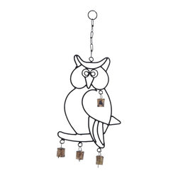 Wall Hanger Metal Owl Wind Chime - Enhances the positive ambience in your home with this Attractive Wall Hanger Metal Owl Wind Chime with Artistic Design. It is sure to charge up your home environment positively with this attractive wind chime. It holds a beautifully sculpted owl image that has the chime bells strung to it to produce pleasing sounds in the wind. Suitable to be hung from any location in the home, the chime occupies minimal space and brings a joyful vibrancy all around.  The whole metal structure is designed lightweight so as to sway in the air easily to produce the soothing sounds. Apart from gratifying your ears with the sounds, this chime adds to the visual appeal with its looks. This chime set is made of high quality durable metal, and will grace your home for a long time to come.. It comes with a dimension: