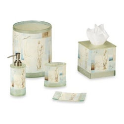 Avanti - Blue Water Waste Basket Set - With a peaceful water scene, waste basket will bring the beauty of the seashore into your bathroom. Resin waste basket will be an inviting addition to your bathroom decor.