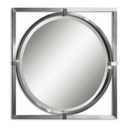 Uttermost - Kagami Brushed Nickel Mirror - A decorative mirror is a great addition to a drab bathroom. Replace your builder-quality mirror with the sophistication of brushed nickel in this unique design. You'll love what you see each time you go to wash your hands or brush your teeth.