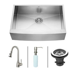 Vigo - VIGO Farmhouse Stainless Steel Kitchen Sink Faucet and Dispenser VG15003 - VIGO-Stainless Steel-Kitchen Sinks Kitchen Sets are fully undercoated and padded with multi layer sound eliminating technology which also prevents condensation.  All Vigo kitchen sinks guaranteed to never rust.  Faucet features spray face that resists mineral buildup and is easy-to-clean. Vigo finishes resist corrosion and tarnishing, exceeding industry durability standards .  Drip-free ceramic disc cartridge.