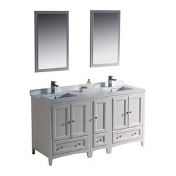 "Fresca - 60 Inch Double Sink Bathroom Vanity in Antique White, Antique White - Blending clean lines with classic wood, the Fresca Oxford Traditional Bathroom Vanity is a must-have for modern and traditional bathrooms alike. The vanity frame itself features solid wood in a stunning antique white finish that's sure to stand out in any bathroom and match all interiors. Available in many different finishes and configurations.  Dimensions: 60""W X 20.38""D X 32.63""H (Tolerance: +/- 1/2""); Counter Top: White Quartz Stone; Finish: Antique White; Features: 5 Doors, 3 Drawers; Soft Close Hinges; Hardware: Chrome; Sink(s): 16.25"" X 11.5"" X 6.5"" Undermount White Ceramic Sink; Faucet: Pre-Drilled for Standard Single Hole Faucet (Included); Assembly: Light Assembly Required; Large Cut Out in Back for Plumbing; Included: Cabinet, Sink, Choice of Faucet with Drain and Installation Hardware, Mirror (20""W X 31.88""H); Not Included: Backsplash"