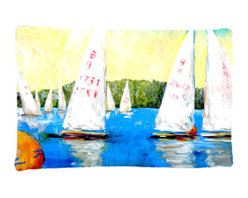 Caroline's Treasures - Sailboats Round The Mark Fabric Standard Pillowcase Moisture Wicking Material - Standard White on back with artwork on the front of the pillowcase, 20.5 in w x 30 in. Nice jersy knit Moisture wicking material that wicks the moisture away from the head like a sports fabric (similar to Nike or Under Armour), breathable performance fabric makes for a nice sleeping experience and shows quality. Wash cold and dry medium. Fabric even gets softer as you wash it. No ironing required.