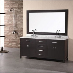 """Design Element - Design Element London 72"""" Double Bathroom Vanity - Espresso - The London 72"""" Double Sink Vanity Cabinet, constructed with solid wood, provides a contemporary design perfect for any bathroom remodel. The ample storage in this free-standing vanity includes two flip-down shelves, four fully functional drawers and two double door cabinets each accented with brushed nickel hardware. This vanity cabinet is available in an espresso or white finish.You have the option to add a White Carrera Marble Countertop with white porcelain sinks, pop-up drains and matching mirror to make your own complete bathroom vanity set. Features Solid wood cabinet Two large pull-down shelves, four pullout drawers, and two soft-closing double-door cabinets, all accented with satin nickel hardware. Soft closing cabinet door ensures you never hear door slam again. Available as a Vanity Set including: White Carrera Marble Countertop, White Porcelain Sinks, Pop up Drains, Matching Mirror Faucet(s) not included Manufacturer provides 1 year warranty How to handle your counter Manual View Spec Sheet Natural stone like marble and granite, while otherwise durable, are vulnerable to staining from hair dye, ink, tea, coffee, oily materials such as hand cream or milk, and can be etched by acidic substances such as alcohol and soft drinks. Please protect your countertop and/or sink by avoiding contact with these substances. For more information, please review our """"Marble & Granite Care"""" guide."""