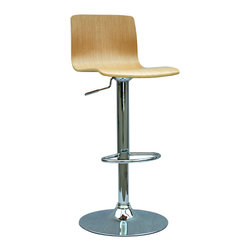 "Chintaly Imports - Oak Bent Wood Pneumatic Gas Lift Adjustable Height Swivel Stool - Beautiful White Oak wood finish adjustable swivel stool. It has a pneumatic gas lift to smoothly adjust the height from bar to counter height. The seat adjusts from 23""-31�."