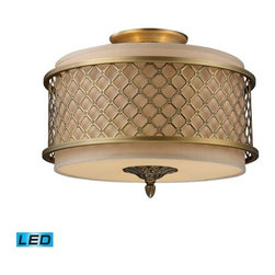 Elk Lighting - Elk Lighting Chester 3-Light Semi-Flush in Brushed Antique Brass - 3-Light Semi-Flush in Brushed Antique Brass belongs to Chester Collection by The Distinguished Metal Lace Pattern, Finished In Brushed Antique Brass, Is The Principle Design Feature Which Envelopes A Rich Cream Fabric Shade. A Frosted Amber Glass Diffuser Completes The Design While Masking The Direct Light For A Warm, Ambient Radiance. - LED, 800 Lumens (2400 Lumens Total) With Full Scale Dimming Range, 60 Watt (180 Watt Total)Equivalent , 120V Replaceable LED Bulb Included Flush Mount (1)