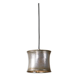 Uttermost - Marcel Champagne Mini Drum Pendant - Sleek, supple metal mesh distinguishes this unique fixture. Metal mesh finished in a metallic champagne.