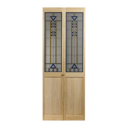 None - 107 Artist Bifold Door - This Door has the elegant design of stained glass in blue and yellow,highlighted by a pewter border. This attractive door is perfect for any decor.