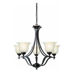 DHI-Corp - Ironwood 5-Light Chandelier, Brushed Bronze - The Design House 517748 Ironwood 5-Light Chandelier is made of formed steel, soft snow glass and finished in brushed bronze. This 5-light chandelier is rated for 120-volts and uses (5) 60-watt medium base incandescent bulbs. This chandelier's sprawling arms meet (5) upward facing lamps gently diffusing light from above. Measuring 24-inches (H) by 26.75-inches (W), this 12.1-pound fixture comes with a 48-inch chain to hang this elegant chandelier. Bold, curved steel accentuates the snow glass to create an elegant centerpiece over a dining room table, in an entry way or in a kitchen. This product is UL and CUL listed. The Ironwood collection features a beautiful matching vanity light, wall sconce and mini pendant. The Design House 517748 Ironwood 5-Light Chandelier comes with a 10-year limited warranty that protects against defects in materials and workmanship. Design House offers products in multiple home decor categories including lighting, ceiling fans, hardware and plumbing products. With years of hands-on experience, Design House understands every aspect of the home decor industry, and devotes itself to providing quality products across the home decor spectrum. Providing value to their customers, Design House uses industry leading merchandising solutions and innovative programs. Design House is committed to providing high quality products for your home improvement projects.