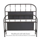 """Mathews & Company - Burlington Wrought Iron Headboard - The Burlington Wrought Iron Bed is all about sleek simplicity. This beautifully handcrafted bed will grace any d��_cor. The bed features a lovely matte black finish that will accent any color scheme to perfection. Gently rounded corners of the headboard have been built to last, while straight grills are accented with ball-like embellishments to break the monotony. The lovely finish of this bed boasts the exceptional skill and handwork of the artisans who created lovely bed. This bed is classically elegant and will stand the test of time, enduring years and years of use. You will love the look and feel of this piece. This wrought iron bed exudes timeless grace and elegance and will always work no matter what fashion trend is currently considered """"in"""". Pictured in Black finish."""