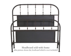 "Mathews & Company - Burlington Wrought Iron Headboard - The Burlington Wrought Iron Bed is all about sleek simplicity. This beautifully handcrafted bed will grace any d��_cor. The bed features a lovely matte black finish that will accent any color scheme to perfection. Gently rounded corners of the headboard have been built to last, while straight grills are accented with ball-like embellishments to break the monotony. The lovely finish of this bed boasts the exceptional skill and handwork of the artisans who created lovely bed. This bed is classically elegant and will stand the test of time, enduring years and years of use. You will love the look and feel of this piece. This wrought iron bed exudes timeless grace and elegance and will always work no matter what fashion trend is currently considered ""in"". Pictured in Black finish."