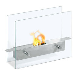 Moda Flame - Ibiza Table Top Ethanol Fireplace - The Ibiza modern ethanol personal table top fireplace is small and cute, yet sexy and sophisticated. Suitable for any table, counter, or bar, the Ibiza sits comfortably on two vertical tempered glass sheets. The flame seems to float and is visible from all angles.
