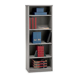 Bush Business - Five Shelf Bookcase in Pewter - Series A - Make room for those important binders, folders and papers in this five- shelf bookcase with a pewter finish.  This versatile case has two fixed shelves for stability and three adjustable shelves for flexibility.  The height matches the Series A Hutches. * Two fixed shelves for stability . Three adjustable shelves for flexibility . Height matches Series A Hutches . 13 1/2 in. depth accommodates binders and business forms. 25.5 in. W x 13.5 in. D x 66.5 in. H