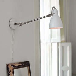 Industrial Sconce, White/Polished Nickel - Super chic with it's industrial-ness. I am a fan of these as bedside sconces, so long as the bed is super girly. I am all about the contrast... and cake.  But that's another ideabook all together.