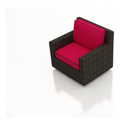 Forever Patio - Capistrano Modern Patio Swivel Glider Chair, Flagship Ruby Cushions - The Forever Patio Capistrano Modern Patio Wicker Swivel Glider with Red Sunbrella cushions (SKU FP-CAP-SG-MC-FF) combines a modern design, ample seating and swiveling action to create the perfect addition to any of the Capistrano sets. The mocha resin wicker is UV-protected and features dual tones that give it a more natural look, suiting a wide range of outdoor decor schemes. This swivel chair includes fade- and mildew-resistant Sunbrella cushions, available in a wide selection of colors. With so many options, you are sure to find that perfect look for your patio.