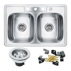 GOLDEN VANTAGE - GV 33-Inch Stainless Steel Kitchen Sink Double Bowl Top Mount W/Strainer - Our affordable stainless steel kitchen sink offer the most improved quality that make us a good choice for any environment. With durability, bigger bowl capacity and also easy to take care of, because the metal imparts a rich glow and adds corrosion resistance it will never get rusted, we use T-304 stainless steel and heavy duty sound deadening pads on all of our GV sinks.