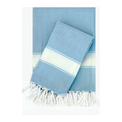 Turkish-T - Super Soft Bath Towel with Fringe,  Blue/White - This Turkish bath towel is made from 100 percent long cotton staple fibers, so it's supple to the touch and becomes even softer with repeated use. The durable, flat-woven design maintains its shape, and is available in a selection of soft, breezy colors — each finished with fringe to add Mediterranean allure to the bath, pool or spa.