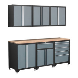 Newage Products - NewAge Products Pro Series 7-Piece Grey Cabinetry Set - The Pro Series 7 Piece Set is an ideal storage solution for any workshop or garage. For a clean, unique, and fresh new look the Pro Series delivers. Relax and unwind while working on a project using the Maple block work surface.