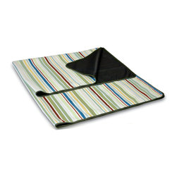 Picnic Time - Blanket Tote - Riviera Stripes - When you need a durable blanket for outdoor use, The Blanket Tote - Riviera is just the item for you!  The topside of the blanket is made of soft polyester fleece in Riviera Stripes print and the underside is water-resistant to protect the blanket from getting dampened or soiled. The Blanket Tote unfolds easily and refolds into a convenient carry tote featuring a closing flap complete with a zippered pocket, and an adjustable shoulder strap. The flap is made of 600D polyester in a pale, celery green. The blanket can even be used as a wrap to keep you dry if an unforeseen storm rains on your picnic. Rain or shine, don't be caught without the Blanket Tote by Picnic Time.