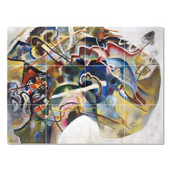 Picture-Tiles, LLC - Abstract Painting With White Border Tile Mural By Wassily Kandinsky - * MURAL SIZE: 36x48 inch tile mural using (12) 12x12 ceramic tiles-satin finish.