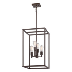 Quoizel - Quoizel Western Bronze Mid. Chandeliers - SKU: NHR5204WT - The New Harbor collection is completely unadorned for an open, airy feel. The Western Bronze finish complements many decor styles and the Victorian Edison-style bulb adds the perfect vintage touch to this understated collection.