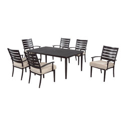 Marshall 7-Piece Patio Dining Set with Textured Sand Cushions -