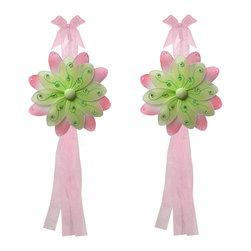 "Bugs-n-Blooms - Flower Tie Backs Green Pink Two-Tone Nylon Flowers Tieback Pair Set Decor - Window Curtains Holder Holders Tie Backs to Decorate for a Baby Nursery Bedroom, Girls Room Wall Decor - 6"" Diameter Purple Pink Two-Tone Curtain Tieback Set Daisy Flower 2pc Pair - Beautiful window curtains tie backs for kids room decor, baby decoration, childrens decorations. Ideal for Baby Nursery Kids Bedroom Girls Room.  This gorgeous nylon peachy-pink and accented color daisy flower tieback set have a double layer of petals and is nicely embellished with sparkling pink sequins & glitter.  This pretty daisy flower decoration is made with a soft bendable wire frame & have color match trails of organza ribbons. Has 2 thick color matched organza ribbons to wrap around the curtains.  The back petals are pink and nicely accented with sequins. The front petals are the color and have a touch of pink glitter and sequins.  Visit our store for more great items. Additional styles are available in various colors, please see store for details. Please visit our store on 'How To Hang' for tips and suggestions. Please note: Sizes are approximate and are handmade and variances may occur. Price is for one pair (2 piece)"
