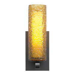 LBL Lighting - LBL Lighting Mini-Rock Candy Cylinder Wall Amber 1 Light Wall Sconce - LBL Lighting Mini-Rock Candy Cylinder Wall Amber 1 Light Wall SconceSkillfully created by dedicated craftspeople, the beautiful texture of this stylish wall sconce is created by rolling Amber mouth-blown glass in crystal frit and then flash heating it to fuse the components together. The included 60 watt G9 base halogen lamp creates ample light through the Opal inner diffuser for a rippled water effect that will dazzle your guests.LBL Lighting Mini-Rock Candy Cylinder Wall Amber Features: