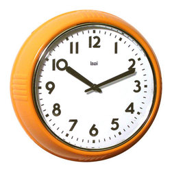 Bai Design - Orange 9.5-Inch School Wall Clock - - Spray-painted ABS bezel  - Silkscreen-printed PVC dial  - Spray-painted metal hands   - Assembly not required   - Manufactured in China Bai Design - 740.OR