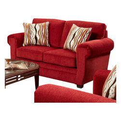 Chelsea Home Furniture - Chelsea Home Leslie Loveseat in Samson Red - Leslie loveseat in Samson Red belongs to the Chelsea Home Furniture collection