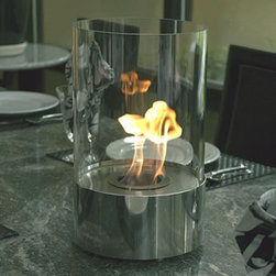 "Bluworld Innovations, LLC - Accenda Tabletop Fireplace 14.96""H x 9.05""W x 9.05""D Polished Stainless Steel - The perfect accent to any table, in any setting. This portable tabletop fireplace features a polished stainless steel base and stunning tempered glass cylinder encasing the flames. Accenda tabletop bio-fireplace may be used indoors or out, however do not leave your fireplace outside exposed to the elements after use. Ships with snuffer. Fuel not included, we recommend using Nu-Flame Bio-Ethanol Fuel."