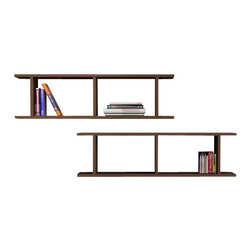Matte / Decortie - RAY WALL SHELF, Wenge - Simple and effective, this wall mountable bookcase makes an attractive feature for the living room, hallway or bedroom. It comes complete with three squared compartments in varying sizing that can be displayed horizontal or vertically for added interest.